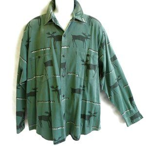 True Grit 90s Shirt Moose Great Outdoors Green USA